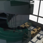 3D rendering of the spiral staircase, as viewed from the 7th floor.