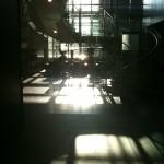 The 5th floor atrium on the engineering side of the building, filled with light.